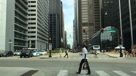 Driving Downtown Chicago - Wacker Drive